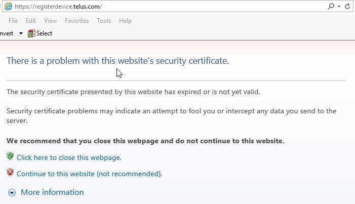 Register device SSL error