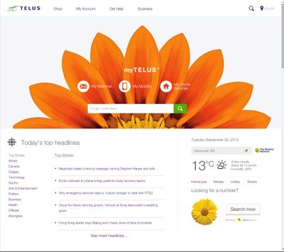 New Telus Homepage for mytelus com and browsers - TELUS Neighbourhood