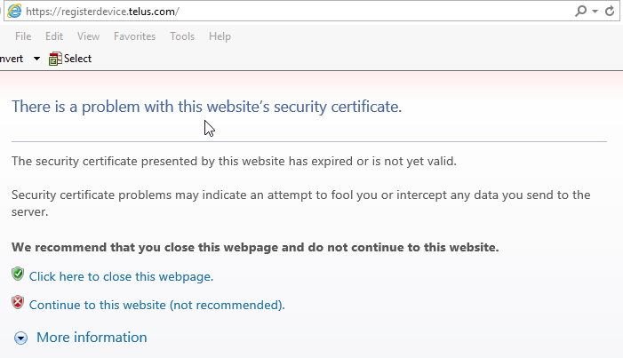 Register device SSL error
